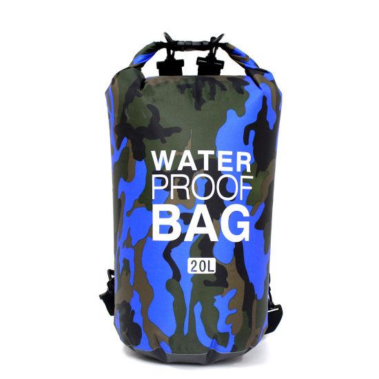 Hot Sell Custom Logo Outdoor Polyester PVC Ocean Pack Waterproof Dry Bag, Waterproof Bag with Shoulder Strap