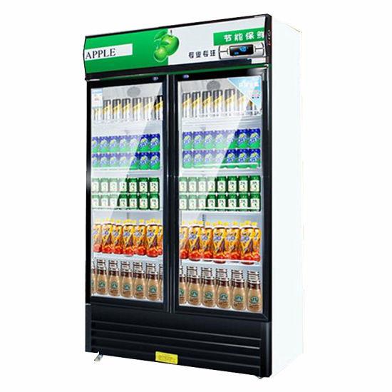 Single Door Beverage Showcase Cooler Green Energy Drinks Commercial Display Refrigerator/Freezer