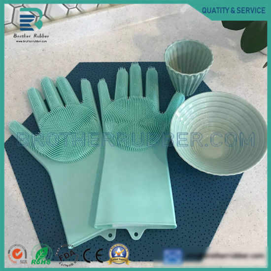Silicone Gloves Eco Friendly Heat Resistant Silicone Scrubber Brush Kitchen Cleaning Glove Dish Washing Glove for Multi