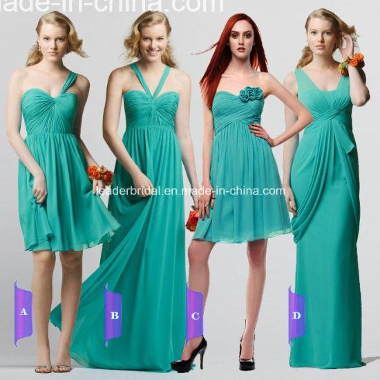 New Green One Shoulder Chiffon Long Bridesmaid Dress a-13