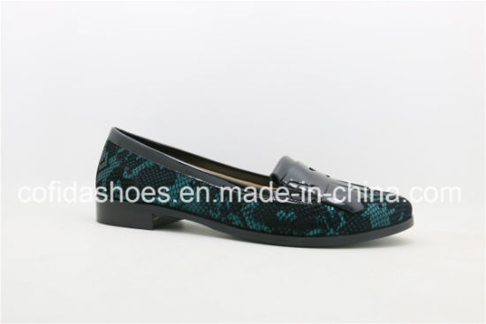 73d1f6a63 New Trendy Printed Leather Flat Heel Leather Women Shoes pictures & photos