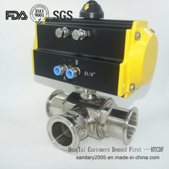 Food Grade Stainless Steel Pneumatic Actuator Three Way Valve in Wenzhou Factory