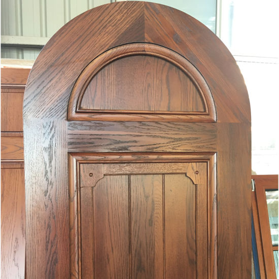 China Round Top Designed Wood Interior Door Made Of Solid Oak Wood
