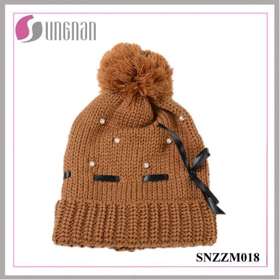 e1ccb3fa51d China Best Design Warm Beautiful Ladies Pearl Bow Knit Hat - China ...