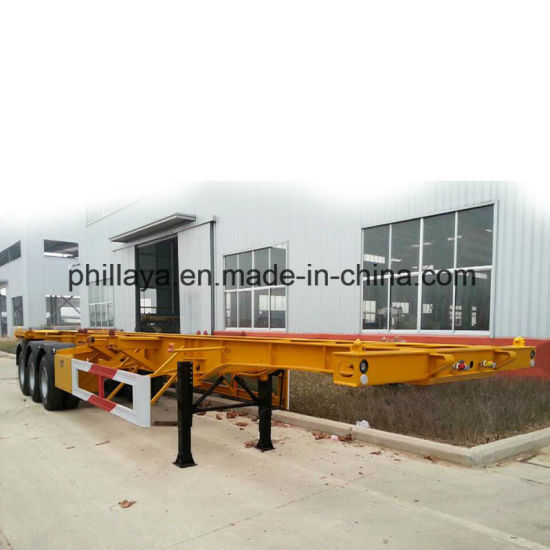 3 Axle 40ton Skeleton 40FT&20FT Cimc Container Truck Semi-Trailer pictures & photos