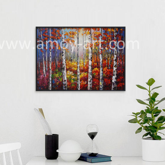 Handmade Forestry Birch Landscape Canvas Wall Art Oil Paintings