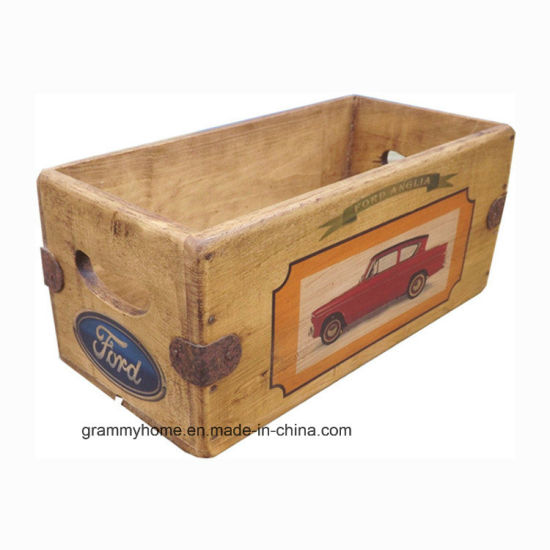 Vintage Ford Car Theme Wooden Crate Box