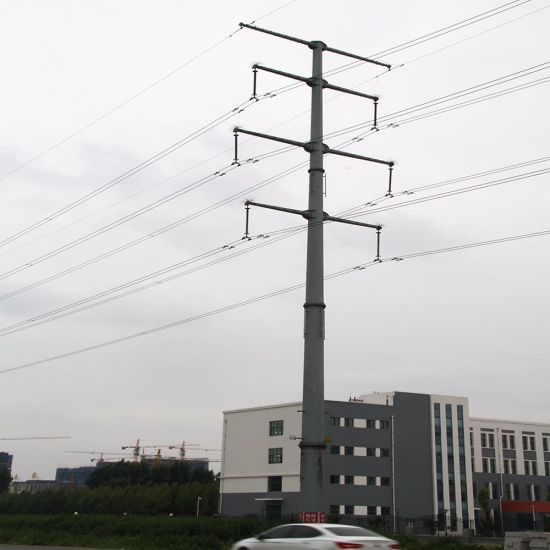 Electricity Steel Tube Tower, 66 Kv Power Transmission Pole