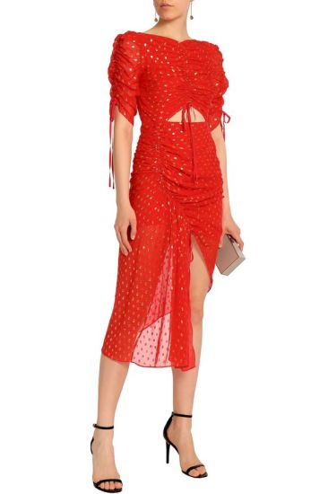 2018 Quality Autum Long Sleeve Red Chiffon Dress with Gold Stamping