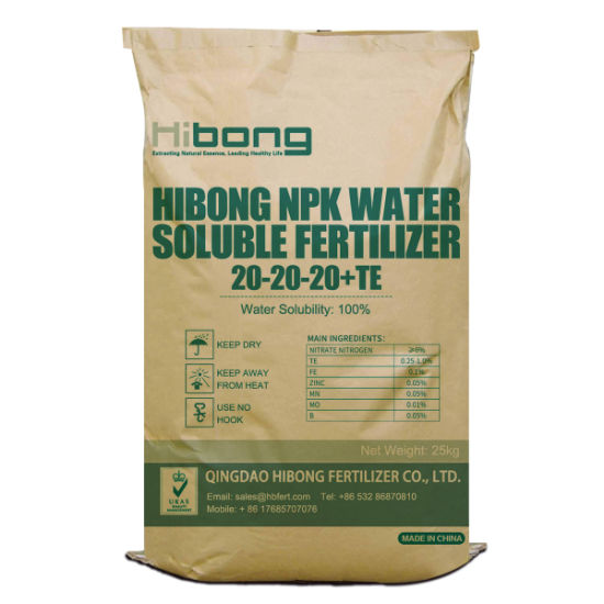 Hibong Water Soluble NPK Fertilizer 20-20-20, Fertilizer NPK 20-20-20 pictures & photos