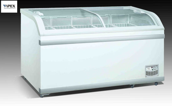 China 550liter Big Volume Sliding Glass Door Island Freezer For Food