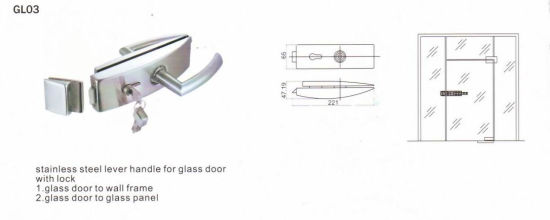 Gl03 Stainless Steel Lever Handle for Glass Door with Lock pictures & photos