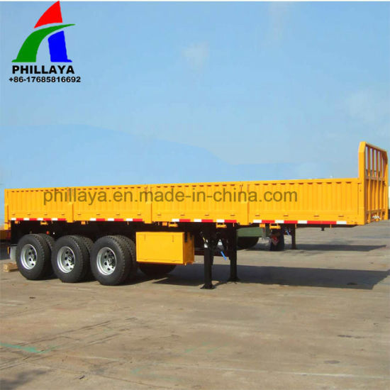 2-4axles Heavy Duty Flatbed Sidewall Bulk Truck Semi Trailers pictures & photos