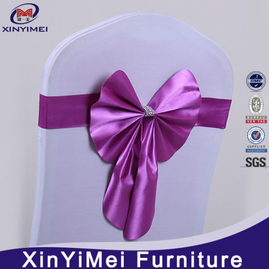 Newest Design Wedding Leather Buckle Chair Sashes Bow Elastictied for Event Chair pictures & photos
