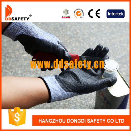 Ddsafety Hot Sale Black PU Coated Cut Resistant Work Gloves Ce 4542