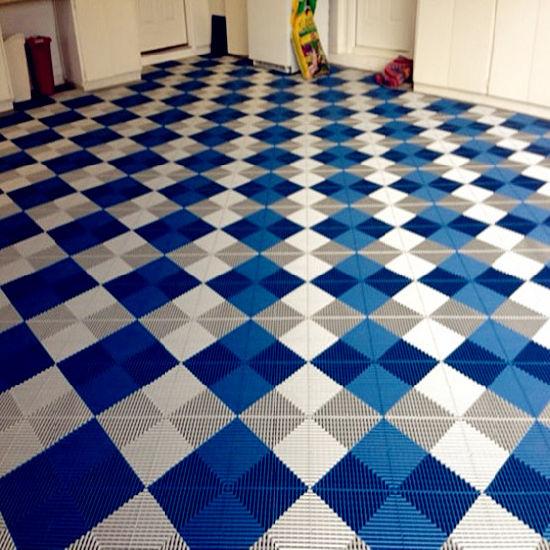 China Brilliant Rubber Floor Squares White Blue Vented Grid Loc