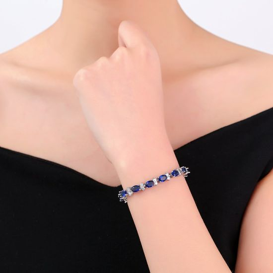 Top Sell Fashion imitation Copper Blue Zircon Gold Jewelry Bracelet pictures & photos