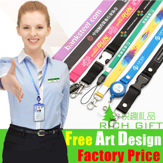 Compatitive Price Mutil-Color Custom Ribbon Lanyard Necklace Keychain pictures & photos