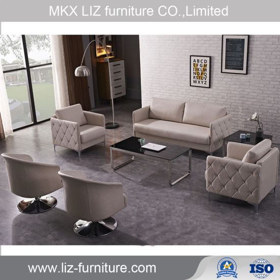 Low Price Simple Design Waiting Office Fabric Sofa Couch (Y364)