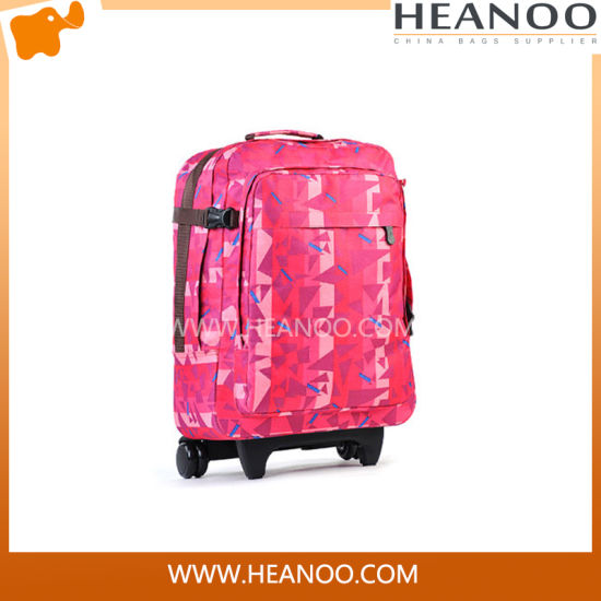 Durable Polyester Wheleled Quilted Rolling Tote Travel Trolley Bag
