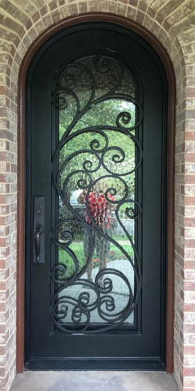 China Exterior Security Custom Wrought Iron And Glass Entry Doors