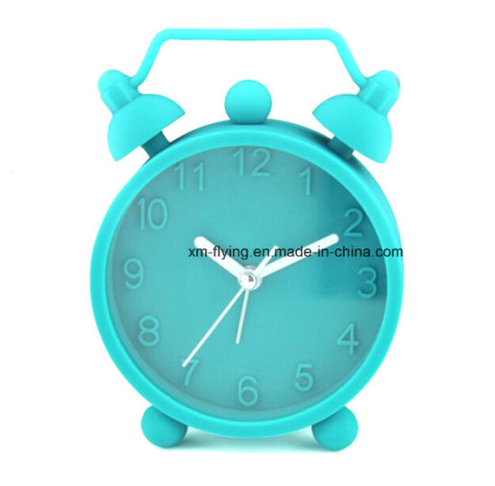 Lovely Round Twin Bell Mute Silicone Quartz Mini Table Alarm Clocks for Student pictures & photos