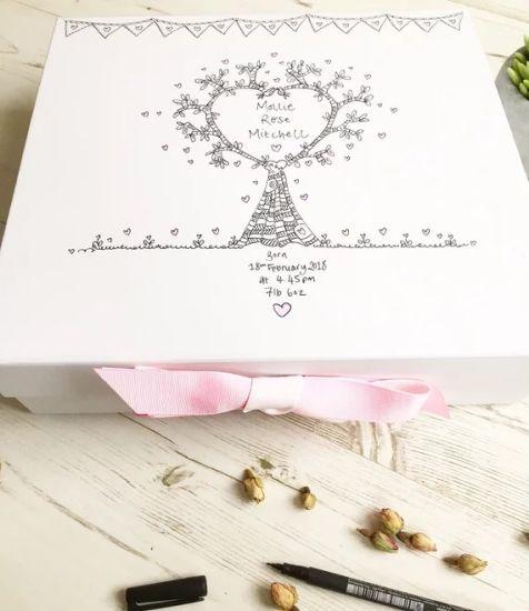 Baby Shower Gift Baby Keepsake Box Personalised Memory Box New Baby Gift Nursey Decor Hand Illustrated