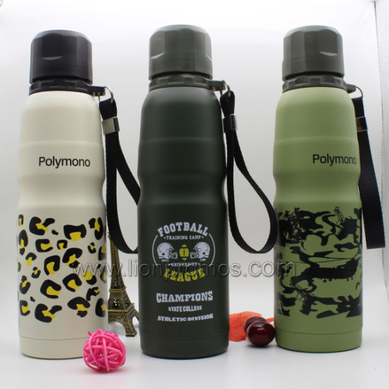 Outdoor Travel Army Camouflage 304# Stainless Steel Vacuum Thermal Flask Bottle with Hinge Belt pictures & photos