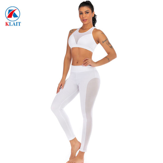Custom Women Fitness Wear Compression Gym Athletic Fitness Mesh Breathable Two Piece Sportwear