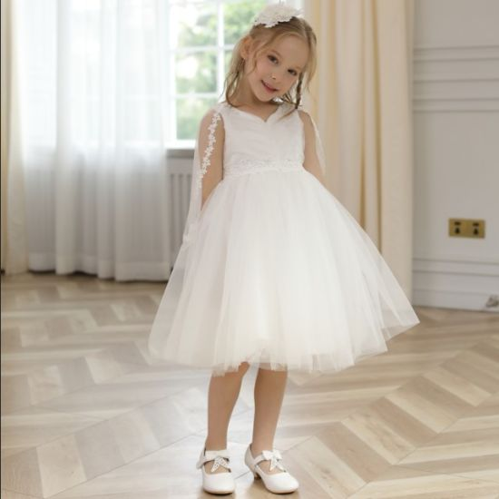 V Neck Children Party Clothing First Holy Communion Dresses for Girls