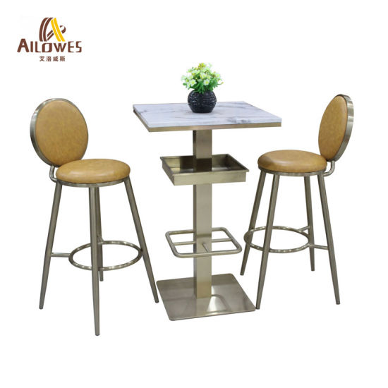 Metal Bar Furniture Yellow Round PU Seat Stainless Steel Gold Color Bar Stool Chair