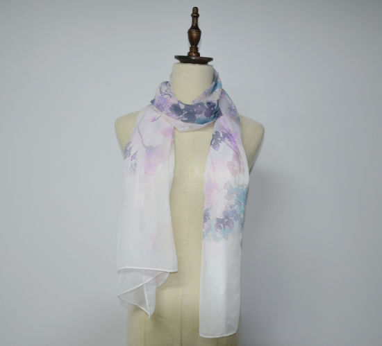 BSCI Thin Silk Feeling Summer Polyester Scarf for Women pictures & photos