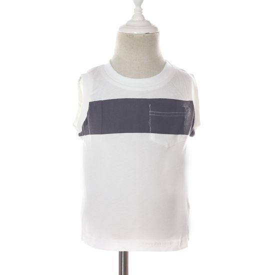 Round Neck Boy White Cotton Sleeveless Kids Casual Tee Shirts with Pocket Stripe