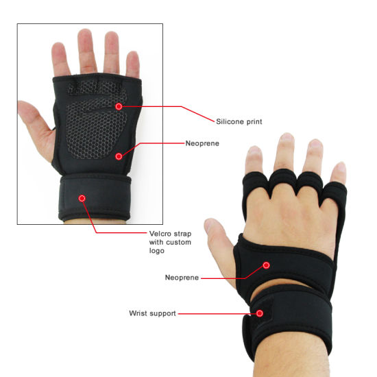 Sports Fitness Cycling Gloves with Built-in Wrist Wraps for Hand Protection Higher Grips