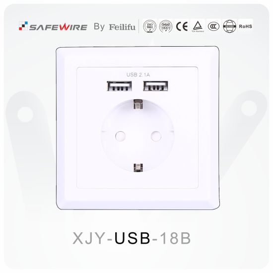 86*86mm PC Material Schuko Socket, USB Charger Socket, Electrical Switch
