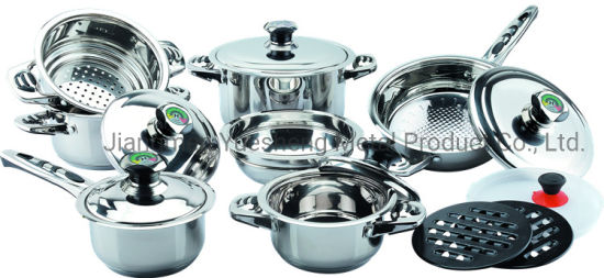 16PCS Stainless Steel Wide Edge Cookware Set-7or 9steps Bottom.