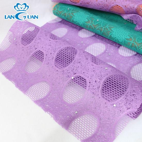 Fancy Purple Lace Fabric 100% Polyester Diamond-Ironing