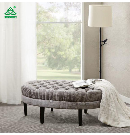Round Bed End Storage Natural Dark Wood Bench Seater with High Density Foam pictures & photos
