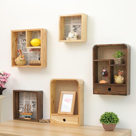 Creative Wooden Storage Rack Hook Shelves Storage Rack ...