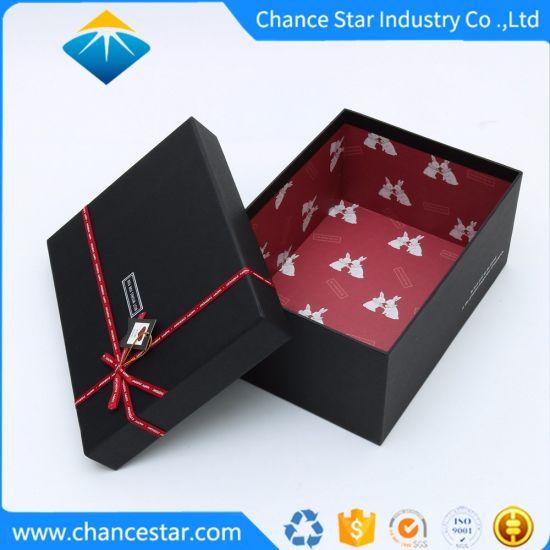 Custom Printed Matte Black Paper Cardboard Gift Packing Box