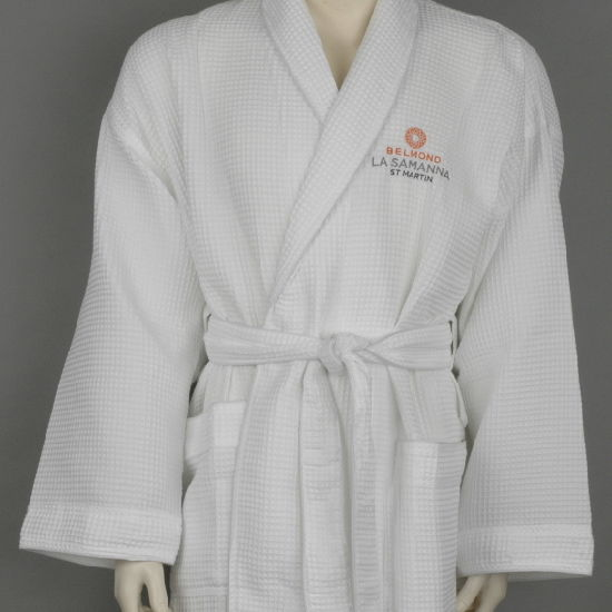 China 65% Polyester 35% Cotton Waffle Fabric Shawl Collar Hotel ... 6f1022104