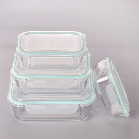 China Rectangle Airtight Glass Microwave Meal Prep Container with