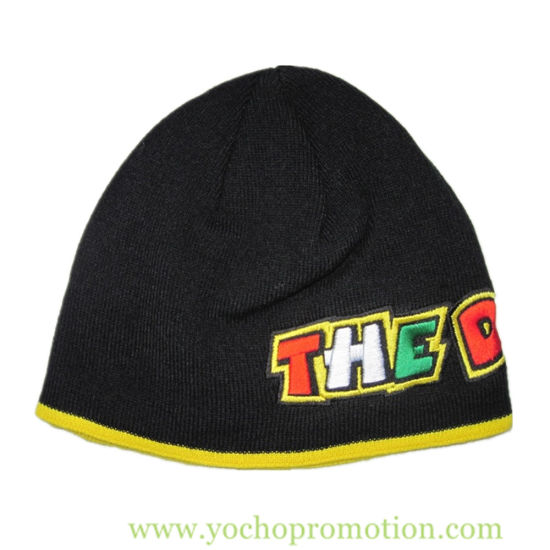 e22d104f China Manufacturer of Knitted Hat Promotional 100% Acrylic Embriodery Strip  Winter Hat Knitted Cap Knitted Hat Beanie