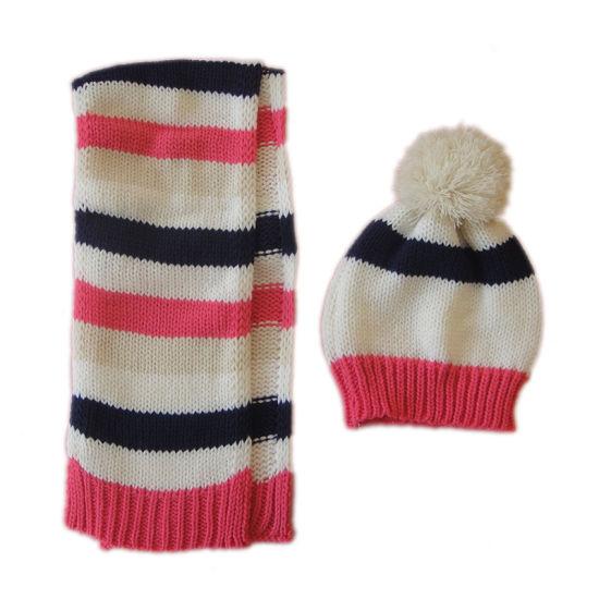 Children Winter Warm Fashion Knitting Stripe Hat Scarf Set