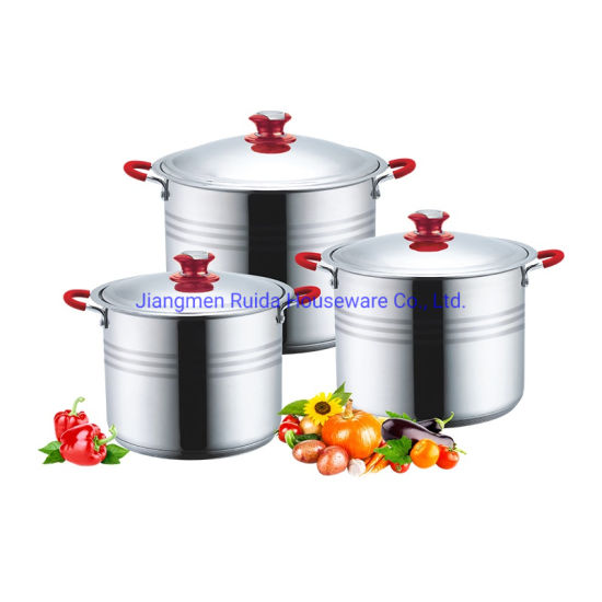 Kitchen Utensils Stock Pot 6PCS 8PCS 10PCS Stainless Steel Big Cookware Set with Thermometer Knob and Red Silicone Handle