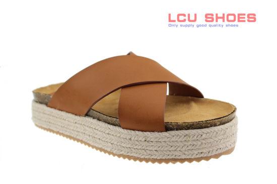 Women Comfy Platform Sandals Espadrille Cross Strap Comfy Summer Shoes
