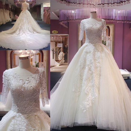 China Long Sleeves Muslim Bridal Dress Wedding Gown Long Train 2018 ...