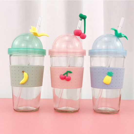 Wholesale Plastic Straw Glass Water Bottles with Silicone Sleeve Milk Cup Glass