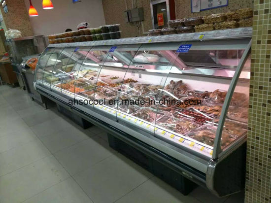Commercial Open Counter Top Serve Over Used Freezer Deli Cold Food Meat Display Refrigerator Case Fridge