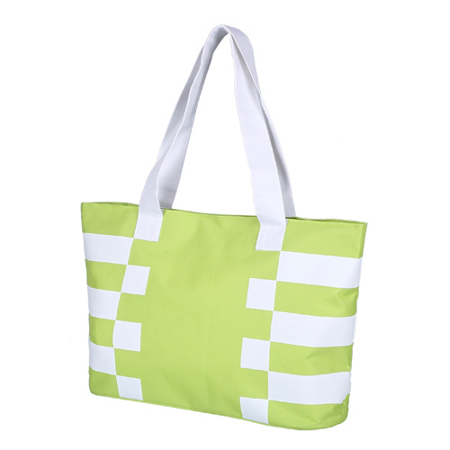 600d Polyester Striped Print Beach Shopper Tote Hand Bag with Lining pictures & photos
